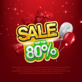 Sale up to 80%, giveaway, sale background with gift box
