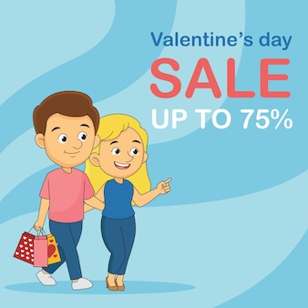 Sale on valentines day up to 70 percent flyer Premium Vector