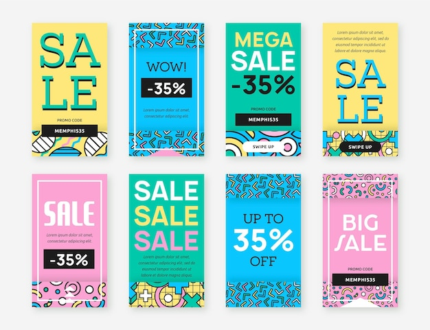 Sale on various background colours instagram stories