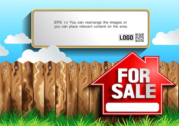 For sale vector illustration with text template