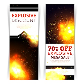 Sale vertical banner set with realistic fire explosion