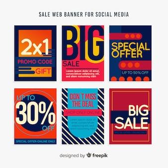 ソーシャルメディアの販売ウェブバナーコレクション
