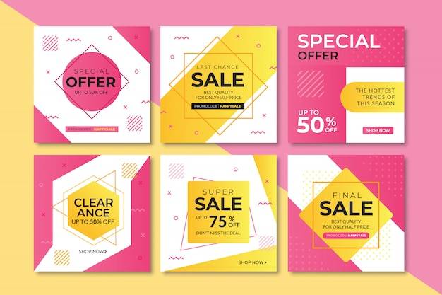 Sale web banner for instagram, square size