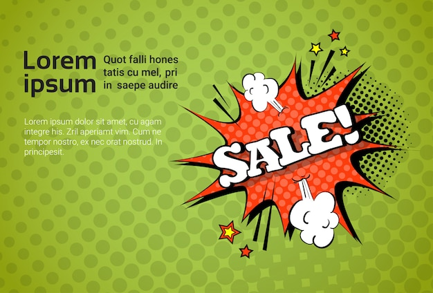 Sale web banner pop art comic discount template