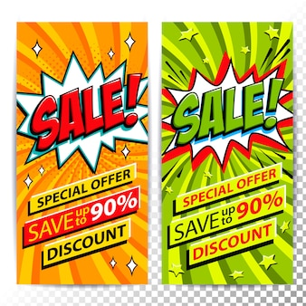 Sale web banner vertical. pop art comic style sale discount promotion banners