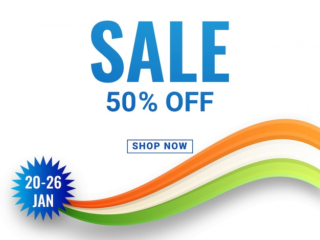 Sale with 50% off banner with ashoka wheel and national tricolors wave.