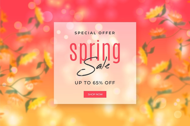 Sale with blurred spring background