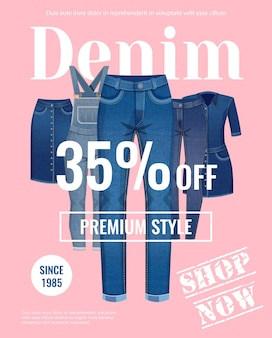 Sale with discount of denim clothing advertising poster on pale pink flat illustration