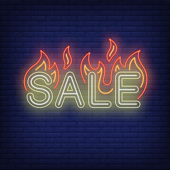 Sale with flames neon sign.