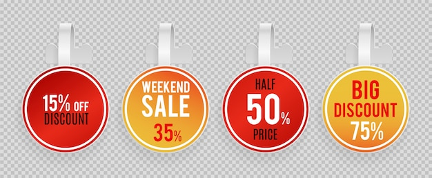 Sale wobblers mockup. special offer, discount vector banners template on transparent background