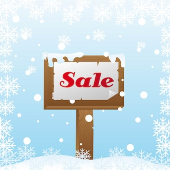 Sale wooden over snow winter sale vector illustration