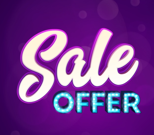 Sale word. retro light signboard banner with glowing bulbs.