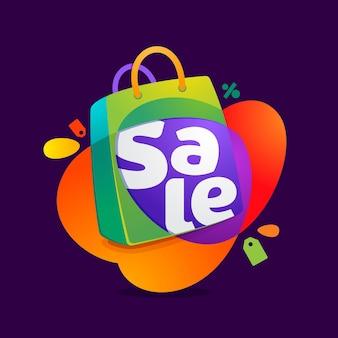 Слово продажи со значком хозяйственной сумки и биркой продажи.