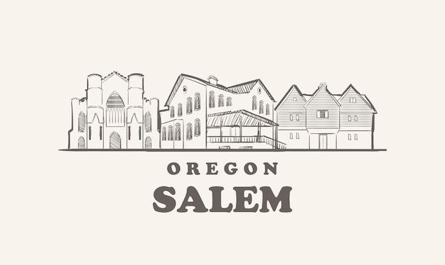 セーラムのスカイライン、オレゴン州が描いたスケッチアメリカの都市