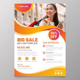 Sales a5 flyer with photo template