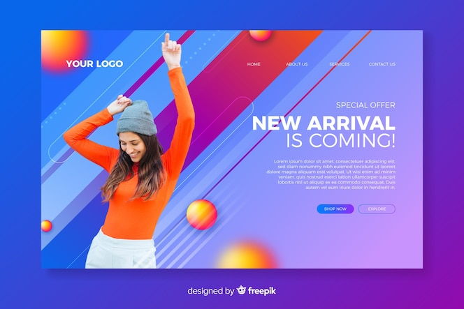 Sales abstract landing page with image