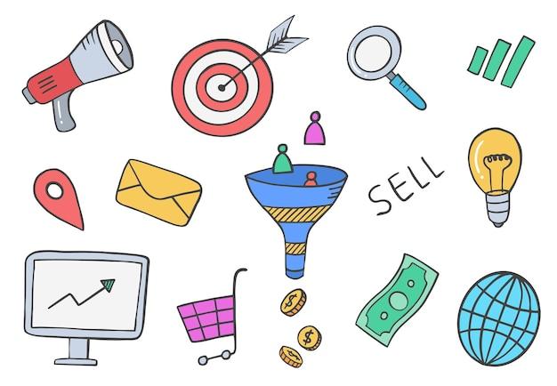 판매 및 마케팅 업계는 평면 윤곽선 스타일로 손으로 그린 세트 컬렉션을 낙서합니다.