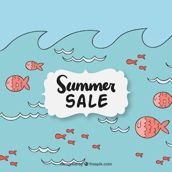 Sfondo di vendita di pesce disegnato a mano in mare