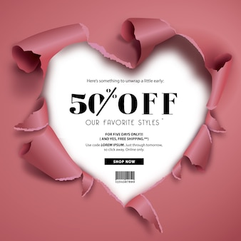 Sales background with heart design