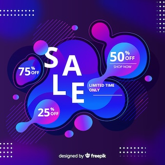 Sales background with liquid effect