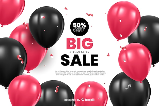 Sales background with realistic balloons