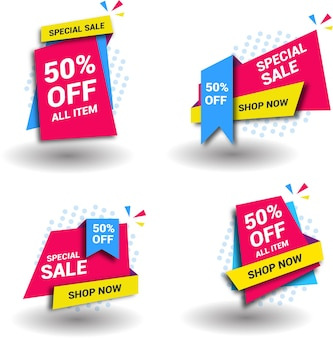 Sales banner collection in abstract style