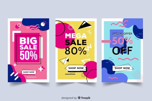 Collezione di banner di vendita in stile memphis