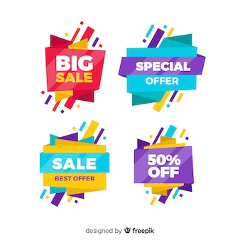 Sales banner collection origami style