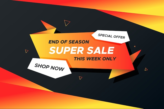 Sales banner concept with origami style