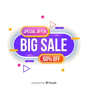 Sales banner design in abstract colorful style