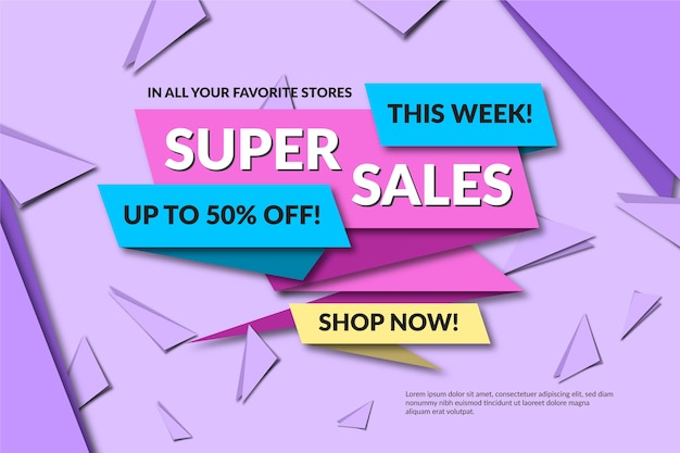 Sales banner in geometric style