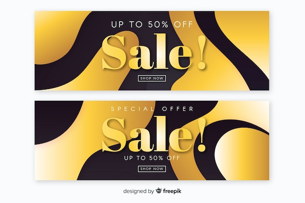 Sales banner in golden luxury style