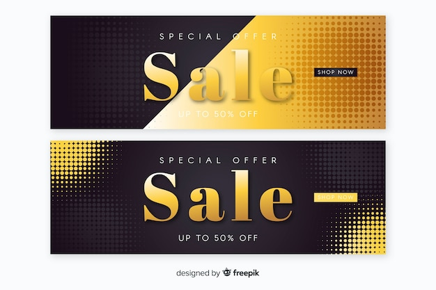 Sales banner in golden luxury style