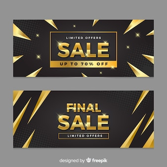 Sales banner in golden style