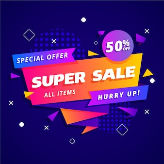 Sales banner in origami style concept