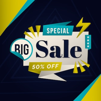 Sales banner in origami style design