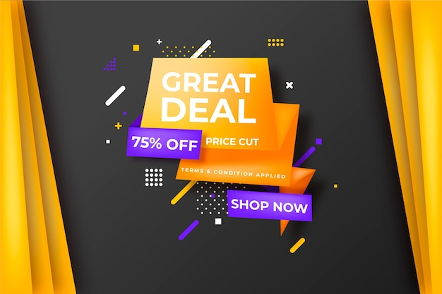 Sales banner in origami style template concept