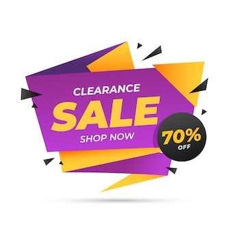 Sales banner in origami style template