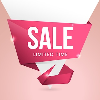 Sales banner in origami style
