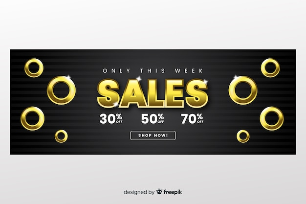 Sales banner template with golden letters