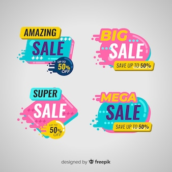 Sales banner templates with abstract shapes