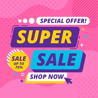Sales banner with super sale