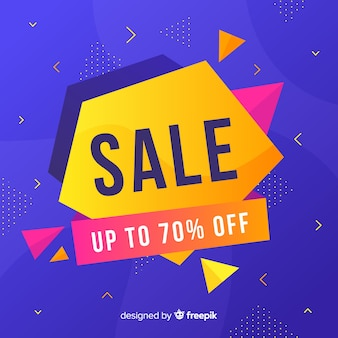 Sales banners with abstract colorful shapes