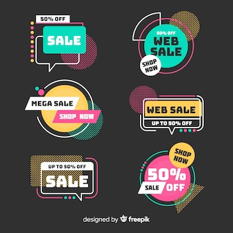 Sales banners with abstract shapes