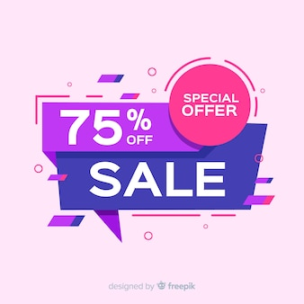 Sales banners with colorful abstract shapes