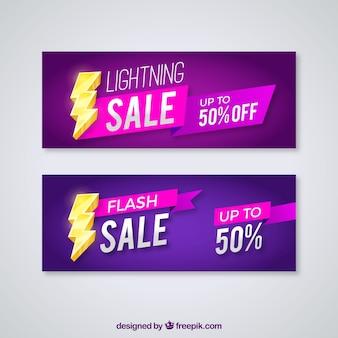 Banner di vendita con un fulmine