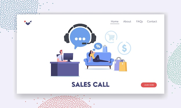 Шаблон целевой страницы рекламного звонка. женский персонаж покупает товары через службу продаж телемаркетинга по телефону. домохозяйка позвоните в центр поддержки свяжитесь с оператором. мультфильм люди векторные иллюстрации