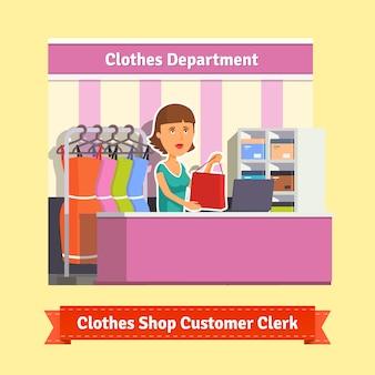 Sales clerk working with customers