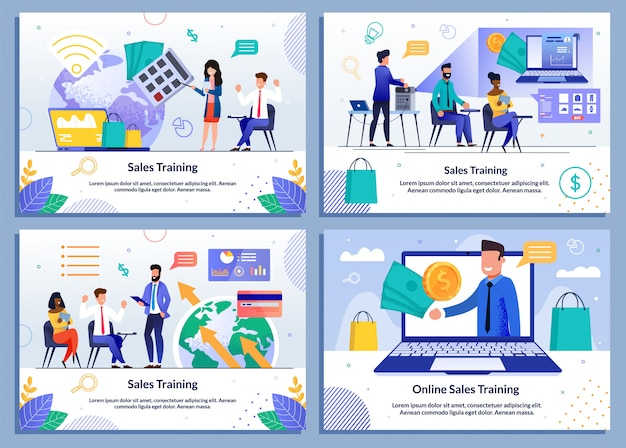 Sales coaching and online training flat template set