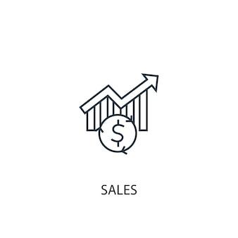 販売コンセプトラインアイコン。シンプルな要素のイラスト。販売コンセプト概要シンボルデザイン。 webおよびモバイルui / uxに使用できます